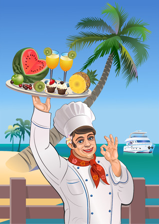 caribbean beach: Chef and tropical desserts Illustration