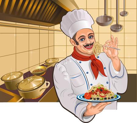 Italian restaurant. Chef and Pasta Иллюстрация