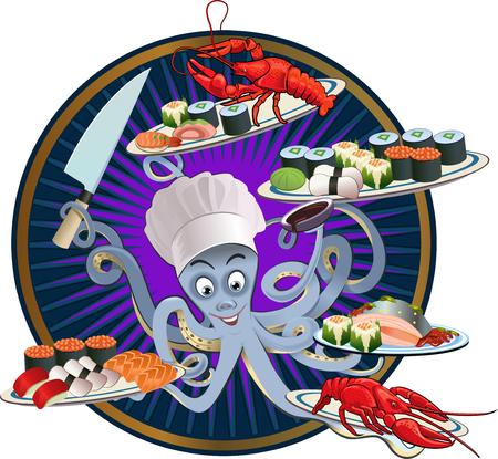 wasabi: Octopus prepares sushi Illustration