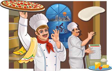 dough: Chef and Italian pizza and the City. Vector Drawing Chef Illustration