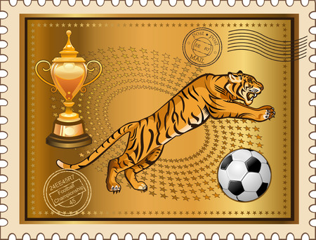 post stamp: Post Stamp Jump of Soccer Tiger Illustration