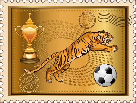 post stamp: Post Stamp Jump of Soccer Tiger Illustration