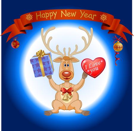 christmas deer: Christmas deer with a big heart. Christmas deer and gifts Illustration