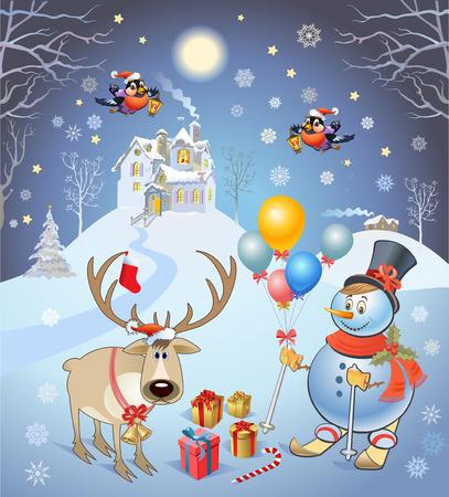 bullfinch: Christmas reindeer and gifts. Bullfinch and Snowman