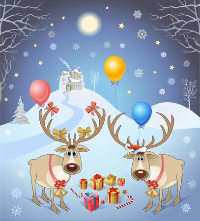 christmas gifts: Two Christmas reindeer and gifts. Vector illustration Illustration