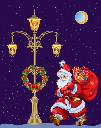 Lamppost with Christmas Wreaths and Santa