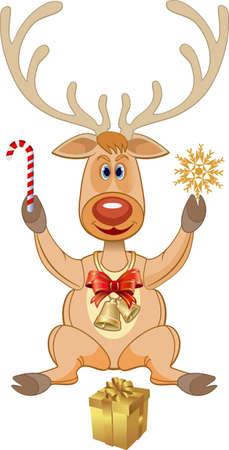Christmas deer and gifts. Illustration