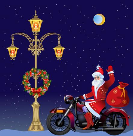 guirnaldas navideñas: Farola con Coronas de Navidad de Santa y en la moto
