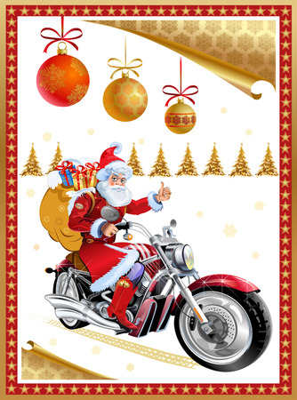 Santa Claus and Gold New Years trip on Motorcycle Illustration