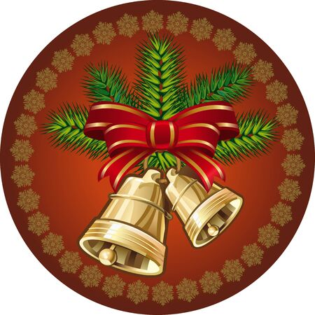 Christmas bells. golden bells with a red bow