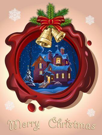 gilt: Christmas Seal with golden bells