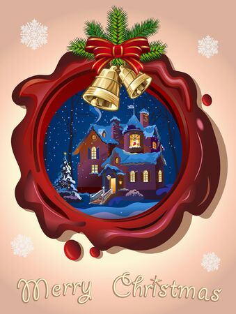 Christmas Seal with golden bells