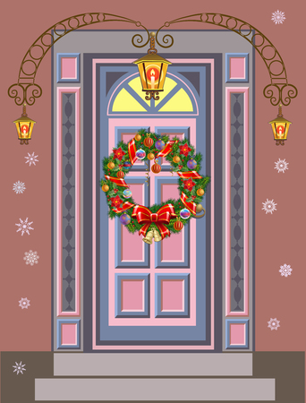 christmas wreaths: Doors with Christmas Wreaths. Beautiful holiday entrance