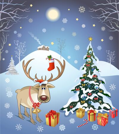 Deer and Christmas tree and gifts. Vector Illustration