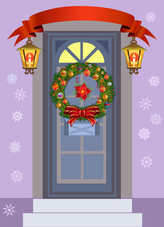 Doors with Christmas Wreaths.Beautiful holiday entrance