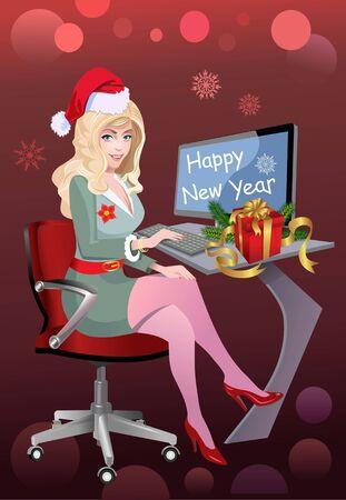 Happy New Year. Writing a List  イラスト・ベクター素材