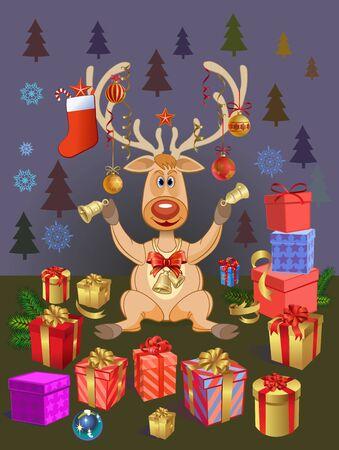 Christmas deer with Christmas balls and gifts