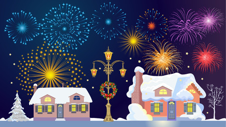 Lamppost decorated wreath. Fireworks in the sky. Houses in the snow Illustration