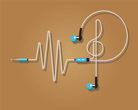 ear bud: Headphones vector illustration. Rhythm
