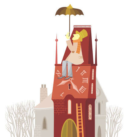 A man with umbrella and clock tower