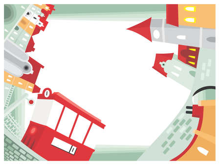 Panorama of town. Vector illustration of a red tram in old historical quarter Vector
