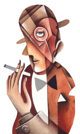 umber: The person in a bowler with a cigarette. Illustration by Eugene Ivanov.