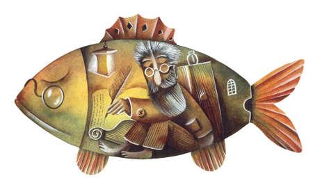 eugene: Travel to the big fish. Illustration by Eugene Ivanov.