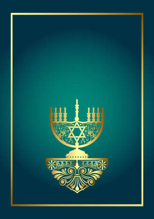 Menorah. Stylish Hanukah card with candle and place for text. Vector