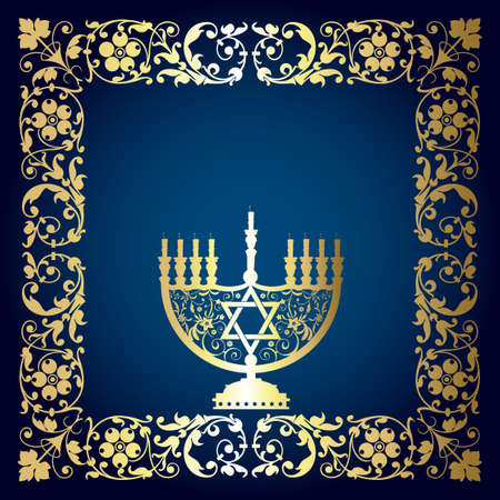Vector background with Menorah. Stylish Hanukah card with candle and place for text