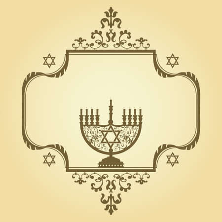 hannukah: Vintage ector background with Menorah Illustration