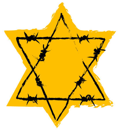 degrading: Holocaust Sign. Yellow Jew Star - Symbol for the persecution of jews in the third reich