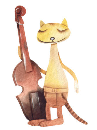 eugene: Cat and contrabass. Original watercolor illustration by Eugene Ivanov.