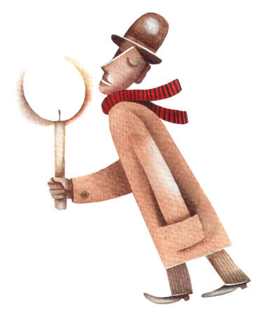 eugene: Men with candle. Original watercolor illustration by Eugene Ivanov.