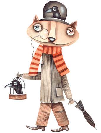 Cat and birds. Original watercolor illustration by Eugene Ivanov.