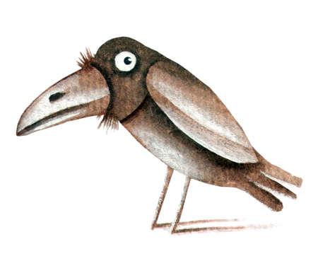 eugene: Raven in the snow. Original watercolor illustration by Eugene Ivanov. Stock Photo