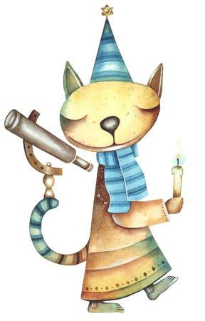 eugene: Cat - astrologer. Original watercolor illustration by Eugene Ivanov. Stock Photo