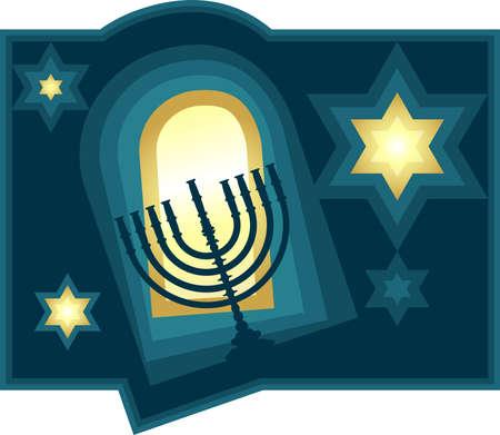 menora: Happy hanuka. Vector illustration Illustration