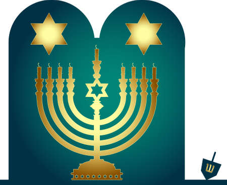 judaism: Vector hebrew menorah. Jewish-themed clip art