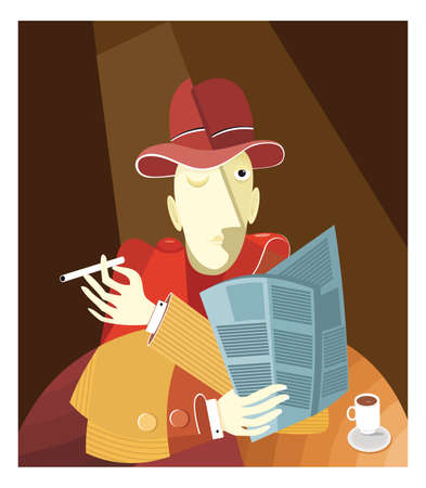 cofee cup: a man with a cofee. vector