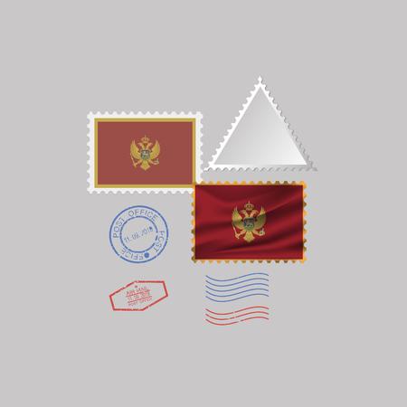 MONTENEGRO flag postage stamp set, isolated on gray background, vector illustration. 10 eps 版權商用圖片