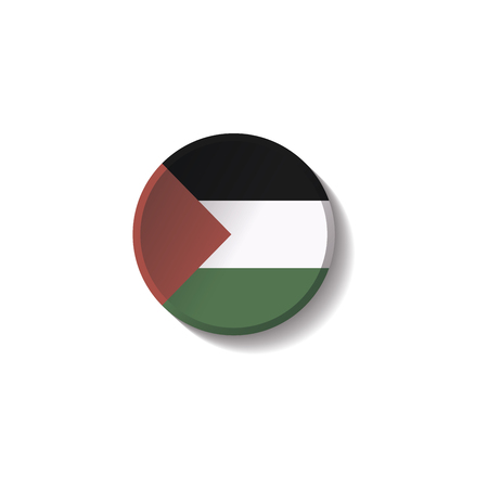 Vector - PALESTINE Flag Paper Circle Shadow Button