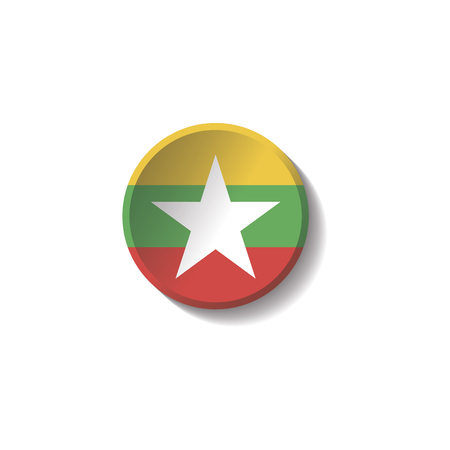 Vector - Myanmar Flag Paper Circle Shadow Button