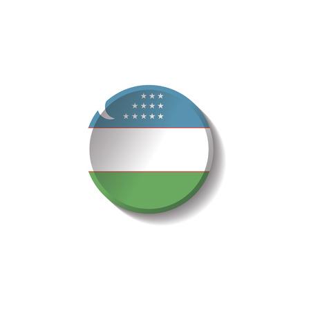 Vector - Uzbekistan Flag Paper Circle Shadow Button