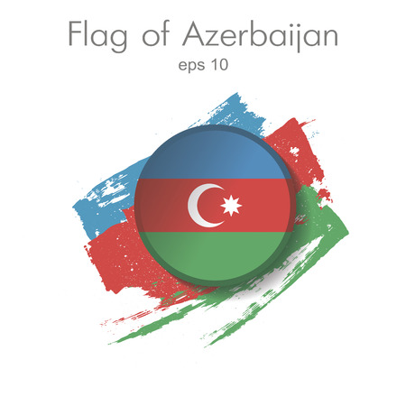 Button flag of Azerbaijan with shadow in the background of the smears colors of the national flag . Icon representing the round button flag of Armenia. Ideal for institutional material catalogs and geography. eps 10 Illustration