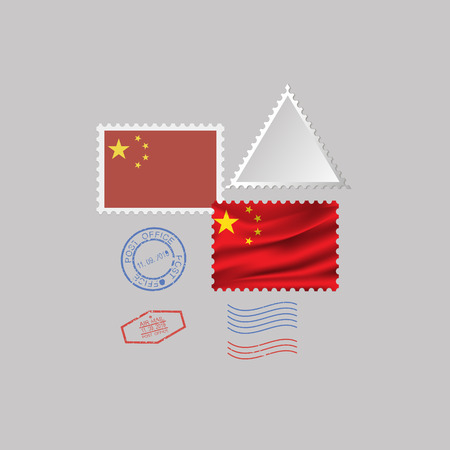 CHINA flag postage stamp set, isolated on gray background, vector illustration. 10 eps