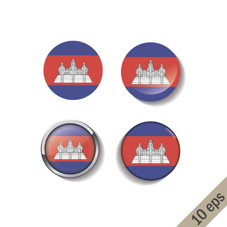 Set of CAMBODIA flags round badges.
