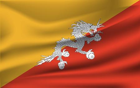 Bhutan waved flag Vector illustration 10 eps