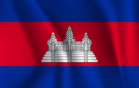 Drapeau ondulant 3D du Cambodge.