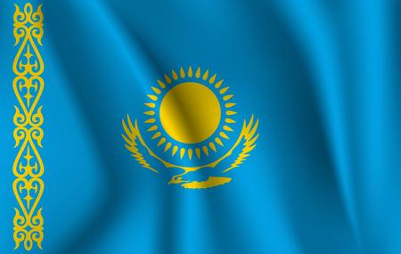 3D que agita la bandera de Kazajstán