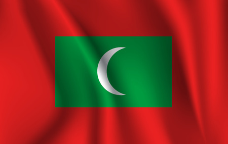 Flag of Maldives. Realistic waving flag of Republic of Maldives. Fabric textured flowing flag of Maldives.